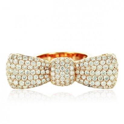 18CT YELLOW GOLD DIAMOND BOW RING