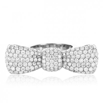 18CT WHITE GOLD DIAMOND BOW RING