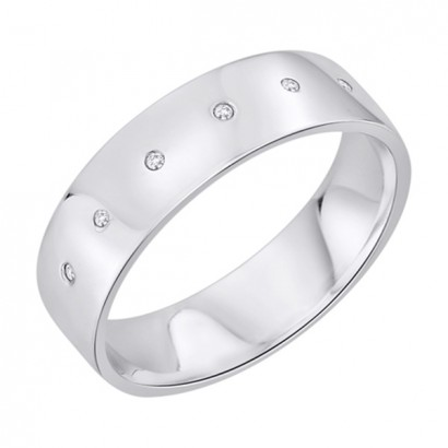 14CT WHITE GOLD DIAMOND WEDDING RING