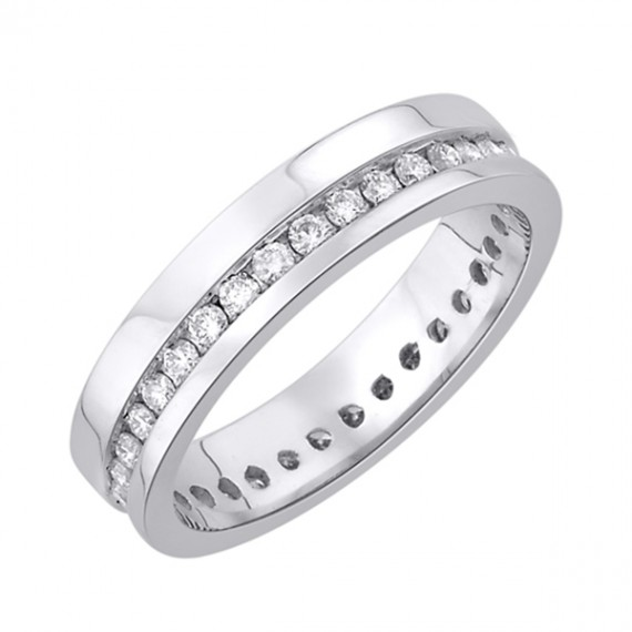 14CT WHITE GOLD DIAMOND WEDDING RING
