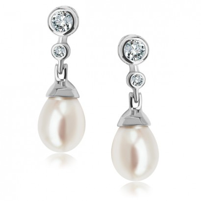 SILVER CUBIC ZIRCONIA PEARL EARRINGS