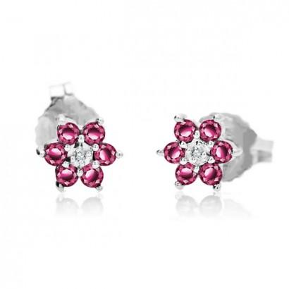 14CT WHITE GOLD DIAMOND & RUBY FLOWER EARRINGS