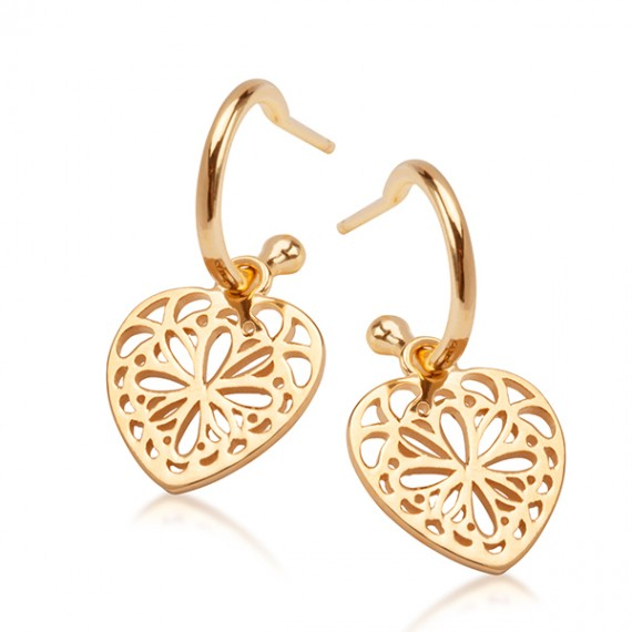 SILVER GOLD PLATED FILIGREE HEART EARRINGS