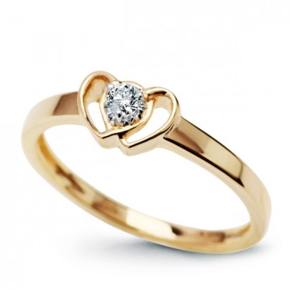 14CT GOLD DIAMOND HEART RING
