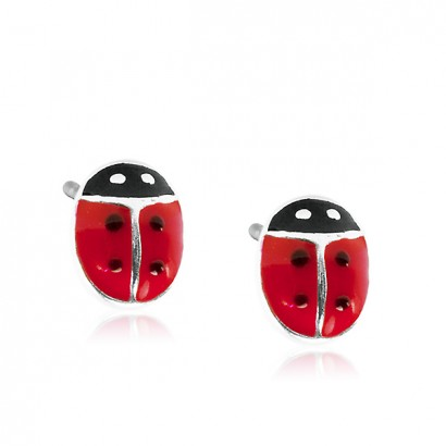 SILVER LADYBIRD STUD EARRINGS