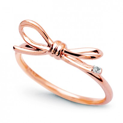 14CT ROSE GOLD DIAMOND BOW RING