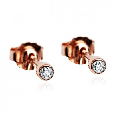 14CT ROSE GOLD DIAMOND EARRINGS.