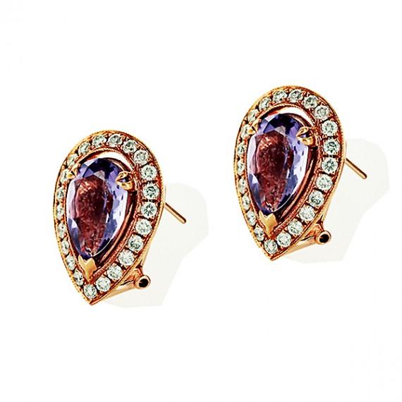 18CT ROSE GOLD DIAMOND & AMETHYST EARRINGS