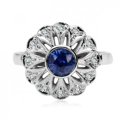 14CT WHITE GOLD SAPPHIRE RING