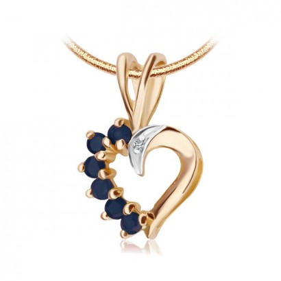 14CT GOLD SAPPHIRE HEART NECKLACE