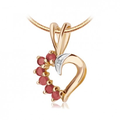 14CT GOLD RUBY HEART NECKLACE
