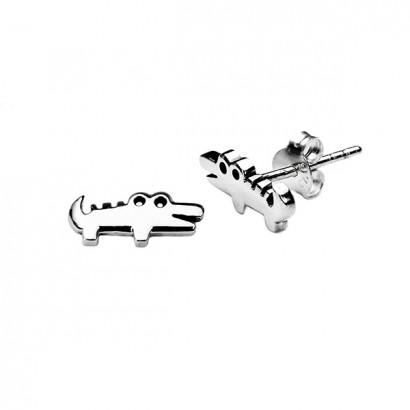 SILVER CROCODILE EARRINGS
