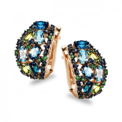 14CT GOLD SAPPHIRE & TOPAZ EARRINGS