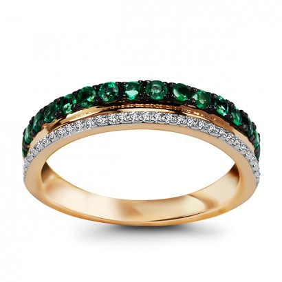 14CT GOLD DIAMOND & EMERALD RING