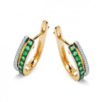 14CT GOLD EMERALD AND DIAMOND EARRINGS