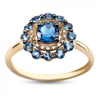 14CT GOLD DIAMOND & BLUE TOPAZ RING
