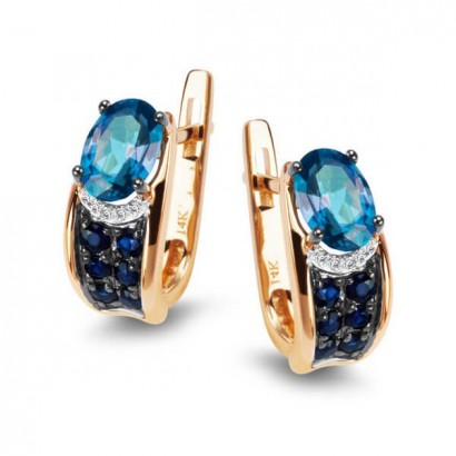14CT GOLD Topaz & SAPPHIRE EARRINGS