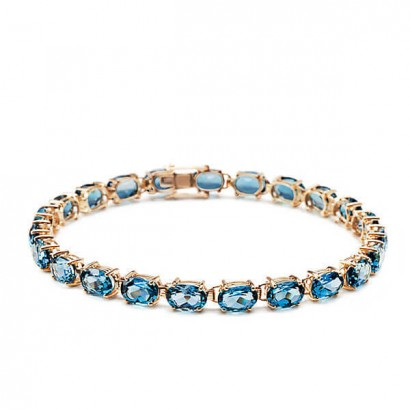 14CT GOLD BLUE TOPAZ BRACELET