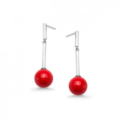 SILVER RED CORAL EARRINGS
