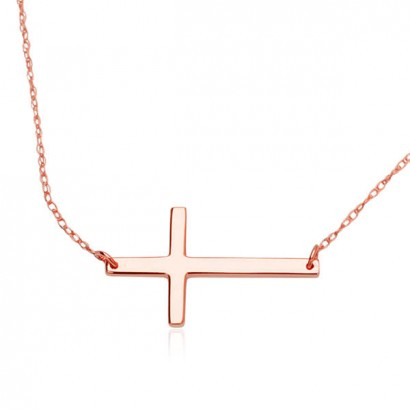 14CT ROSE GOLD CROSS NECKLACE