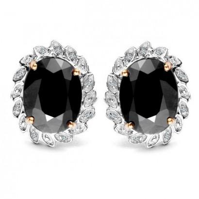 14CT GOLD SAPPHIRE & DIAMOND EARRINGS