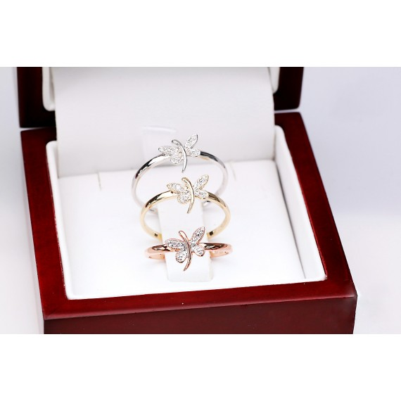 14CT ROSE GOLD DIAMOND BUTTERFLY DRESS RING