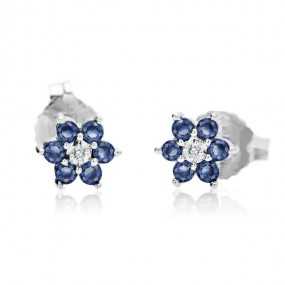14CT WHITE GOLD SAPPHIRE FLOWER EARRINGS