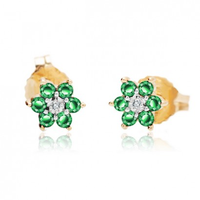 14CT GOLD EMERALD AND DIAMOND FLOWER EARRINGS