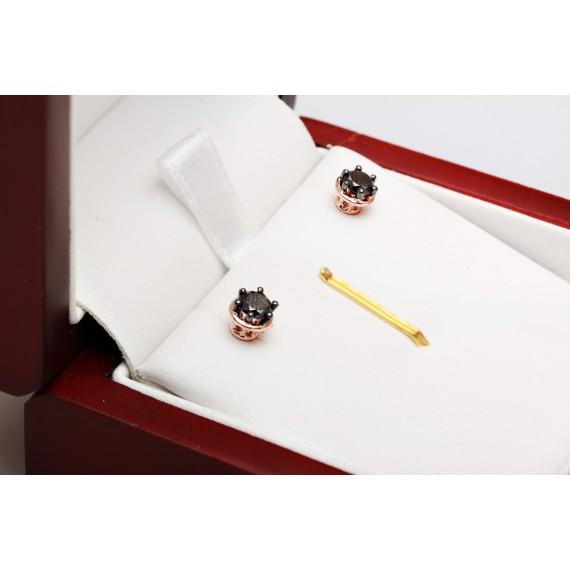 18CT ROSE GOLD BLACK DIAMOND EARRINGS