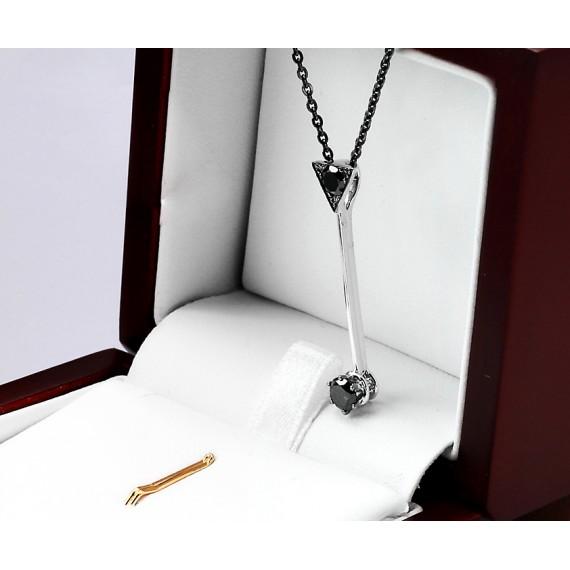 18CT WHITE GOLD BLACK DIAMOND NECKLACE