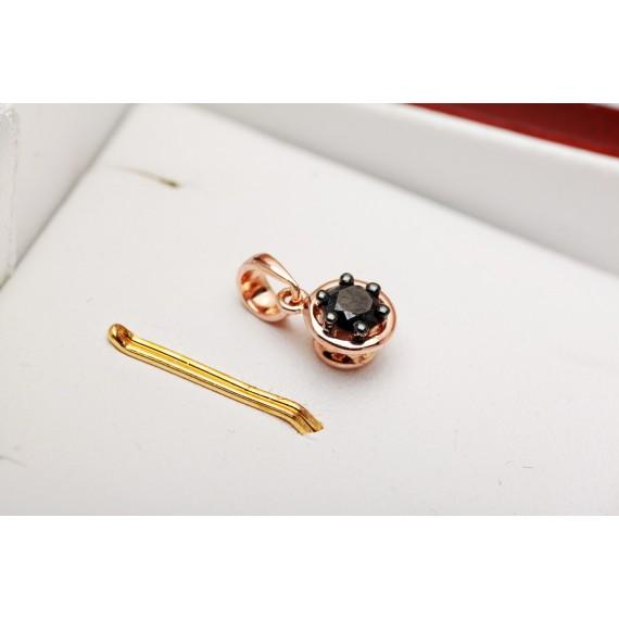 18CT ROSE GOLD BLACK DIAMOND PENDANT