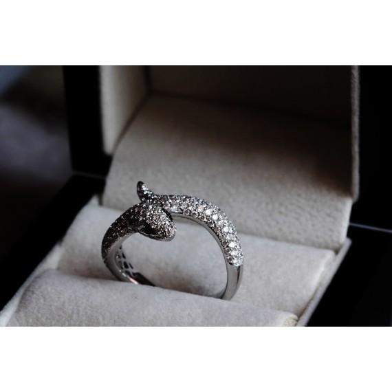 18CT WHITE GOLD DIAMOND SNAKE RING
