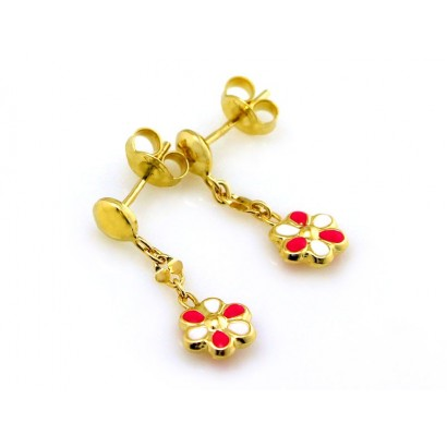 14CT GOLD FLOWER DROP EARRINGS