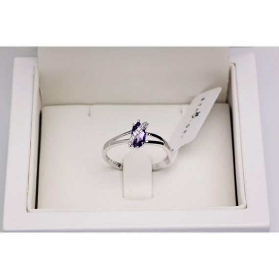 14CT WHITE GOLD AMETHYST DRESS RING