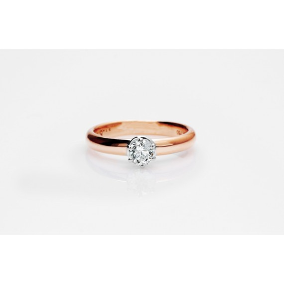 14CT ROSE GOLD DIAMOND ENGAGEMENT RING 0.28CT