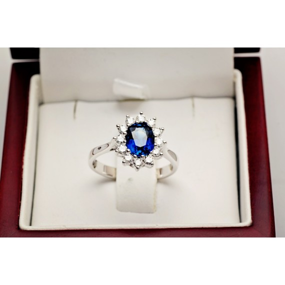 14CT WHITE GOLD SAPPHIRE & DIAMOND RING